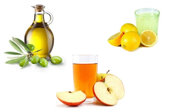 Lemon Juice, Olive Oil, and Raw Apple Cider Vinegar